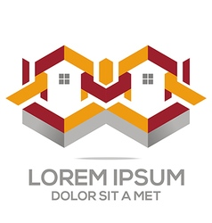 Logo abstract house building real estate design vector