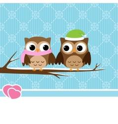 Winter owl couple vector