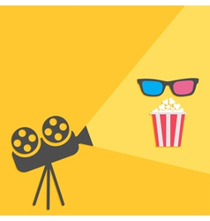 Cinema projector with light and popcorn 3d glass vector