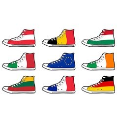 Isolated modern sneakers with europe union flags vector