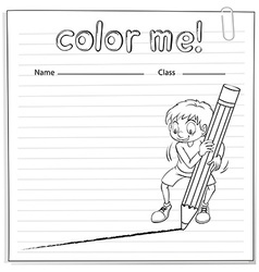 Coloring worksheet with a boy drawing a line vector