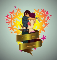 Lover hug with love vector