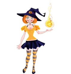 Pretty sexy witch with fireball vector