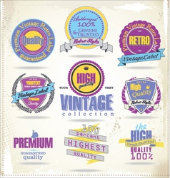 Set of vintage premium quality labels retro colors vector