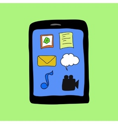 Doodle style pad with applications icons vector