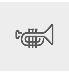 Trumpet thin line icon vector