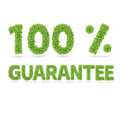 Hundred percent guarantee word of green leaves vector