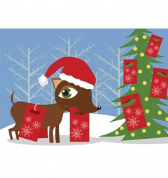 Doggy with christmas presents vector