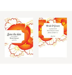 Wedding invitation card with flower vector