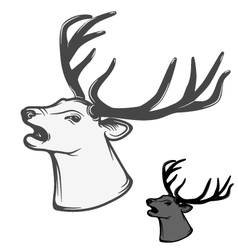 Deer head roaring vector