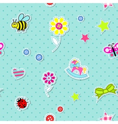 Seamless background with baby elements vector