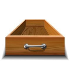 Opened wood drawer vector