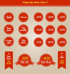 Set of vintage shop labels - sales volume 2 vector