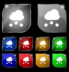Snowing icon sign set of ten colorful buttons with vector