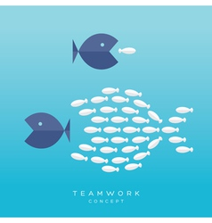 Big fish small fish teamwork concept vector