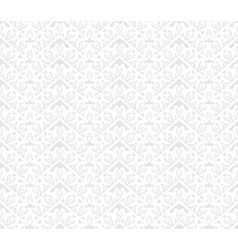 White seamless lace floral pattern on gray vector