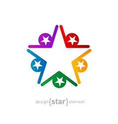 Coloured star abstract design element on white vector