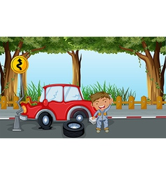 A boy with tools and a red car at the road vector