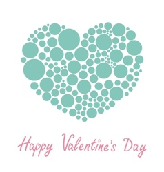 Blue heart made from many round dots love card vector