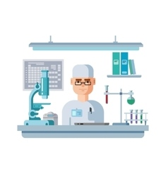 Doctor sits in laboratory healthcare and medical vector