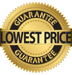 Lowest price guarantee gold label vector