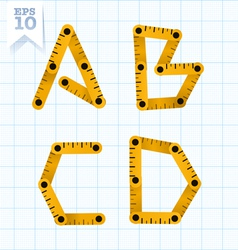 Measuring folding ruler flat abc vector