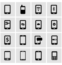 Black mobile icon set vector