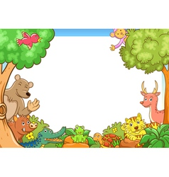 Frame with cute animals vector