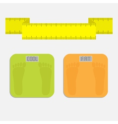 Weight scale with word fat cool measuring tape vector