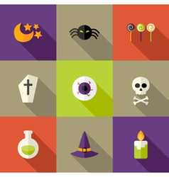 Halloween squared flat icons set 3 vector