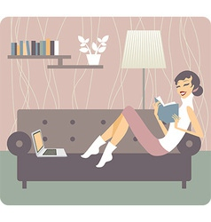 Woman reading book at home vector