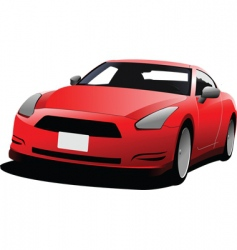 Red coupe car vector