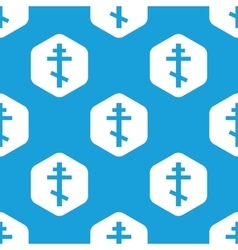 Orthodox cross hexagon pattern vector