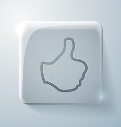 Thumb up glass square icon with highlights vector