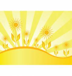 Spring wallpaper with sunflowers vector