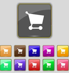 Shopping basket icon sign set with eleven colored vector