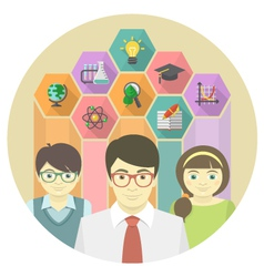 Man teacher and pupils with colored hexagons vector