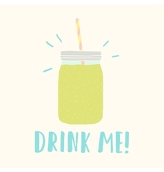 Drink me mason jar with green smoothie vector