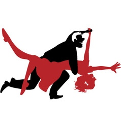 Silhouette of a couple dancing swing or rock n rol vector