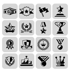 Award icons set black vector