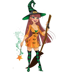 Young witch with cool magic wand and broom vector