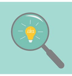 Magnifier and light bulb idea concept flat design vector