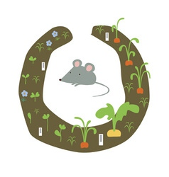 Mouse in a kitchen garden vector