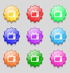 Retro tv icon sign symbol on nine wavy colourful vector