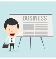 Cartoon business man with presentation vector