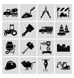 Construction icons set black vector