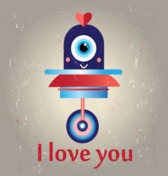 Funny love with a robot vector