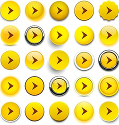 Round yellow arrow icons vector