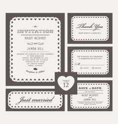 Set classic wedding invitations vector