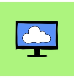 Colorful doodle style cloud computing sign vector